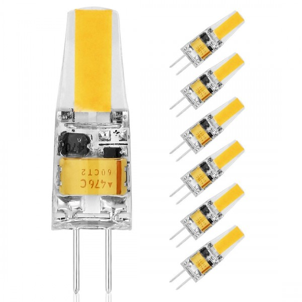 Lot 6 Ampoules LED G4 COB, DC/AC 12V 2W (Equivalent 25W) imperméable