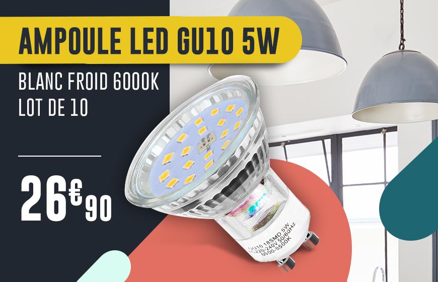 Ampoule LED GU10 5W Blanc Froid 6000k Lot de 10
